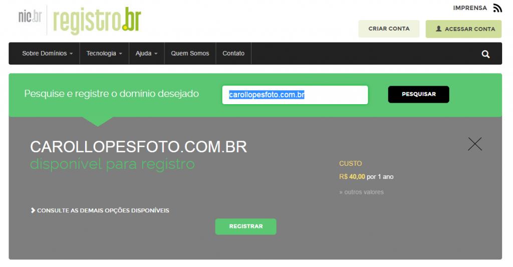 registrar dominio para o site de fotografia